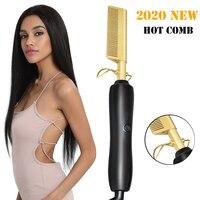 Gorący grzebień wielofunkcyjny grzebień szczotka do prostowania włosów wysokiej temperatury złota ceramiczna prasa grzebień stop tytanu lokówka do włosów lokówka do włosów