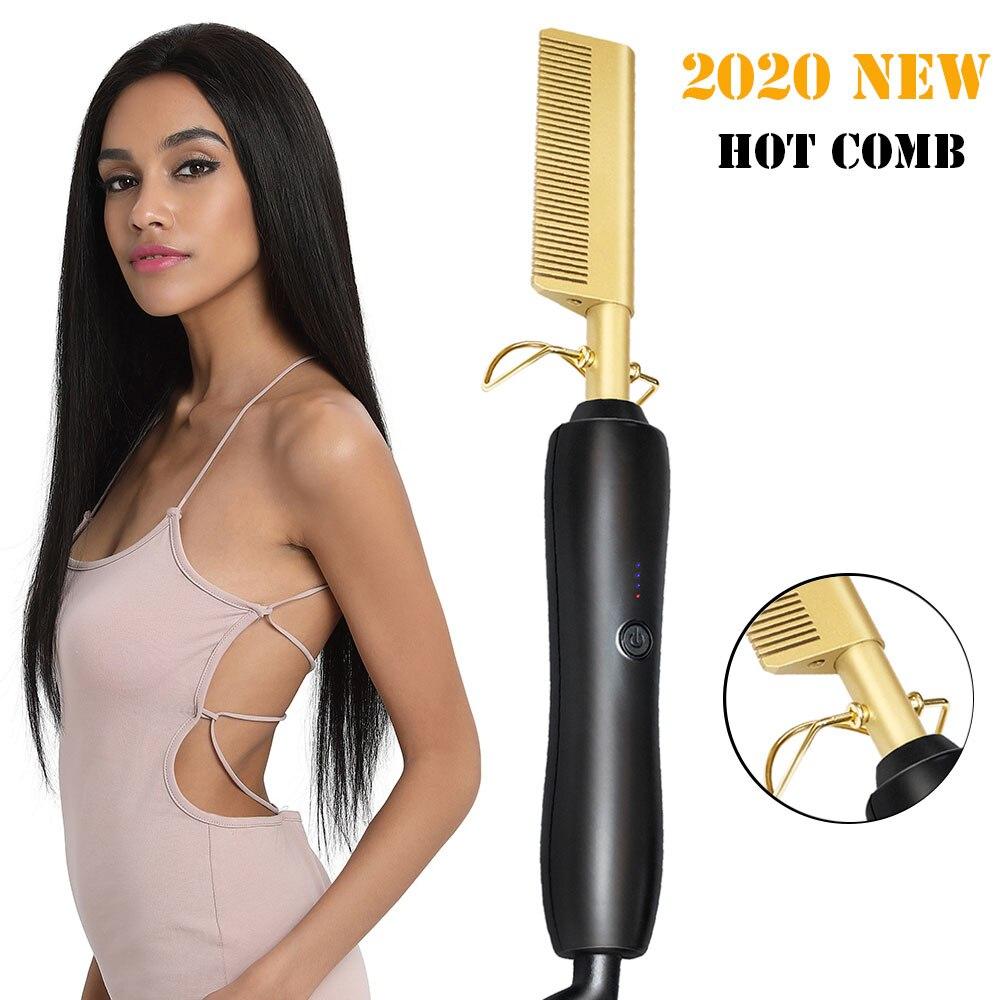 Hot Comb Multifunctional Comb Hair Straightener Brush HighHeatGoldCeramicPressComb Titanium Alloy Hair Curler Curling Brush|Straightening Irons| |  - title=