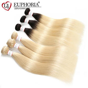 EUPHORIA Hair-Weave Bundles Weft-Extensions Platinum Blonde Human-Hair Black Ombre Straight