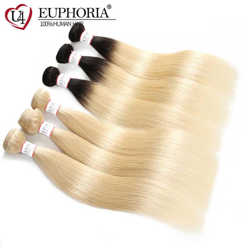 Brasileiro 100% pacotes de tecer cabelo remy euphoria ombre preto platina loira 1b 613 em linha reta do cabelo humano pacote trama extensões