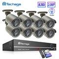 Techage H.265 8CH 1080P HDMI POE NVR комплект системы видеонаблюдения 2MP ИК наружная аудио запись ip-камера P2P видео набор для наблюдения
