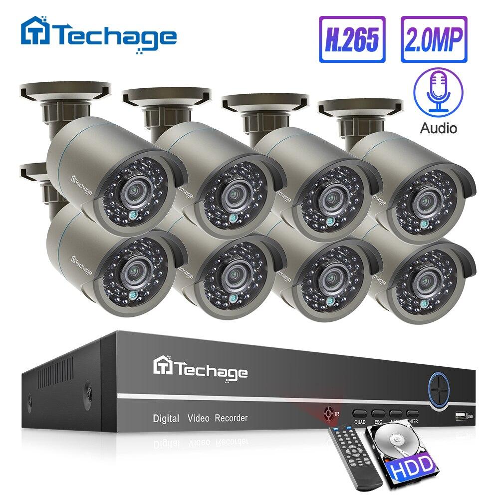 Techage H.265 8CH 2MP HDMI 1080P POE NVR Kit Sistema de Segurança CCTV IR Ao Ar Livre De Gravação de Áudio Câmera IP P2P conjunto de Vigilância Por vídeo
