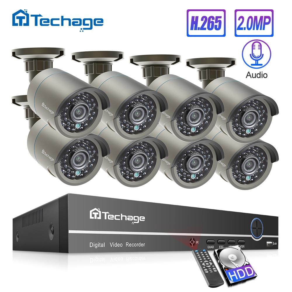 Techage h.265 8ch 1080 p hdmi poe nvr kit cctv sistema de segurança 2mp ir ao ar livre gravação áudio câmera ip p2p vídeo vigilância conjunto