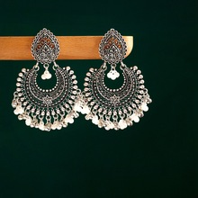 Classic Women's Silver Color Earrings Turkey Bijoux Vintage Bohemia Pearl Beaded Tassel Earrings Ethnic Tribe Indian Jewelry