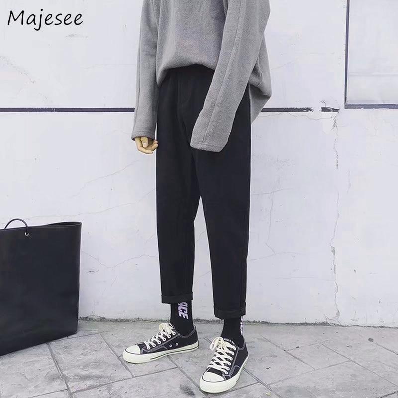 Sweatpants Men Korean Fashion 5XL High Waist Pants Mens Ankle-length Plus Size Straight Streetwear Males Hot Sale All Match Chic