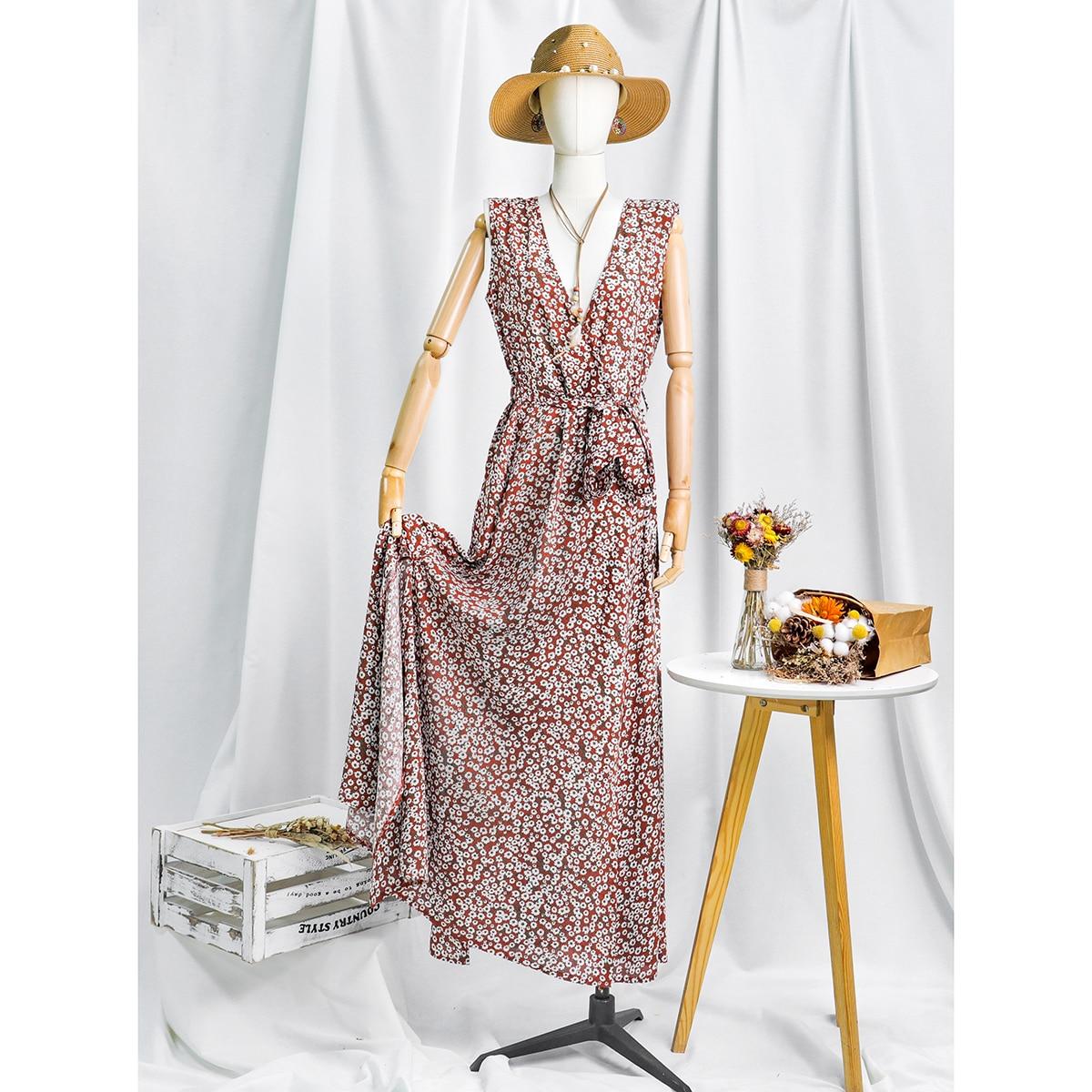 Jastie Women Summer Dress Floral Print Maxi  4