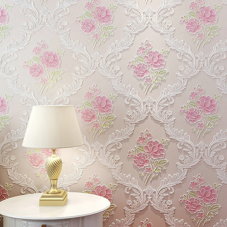 Warm Pastoral Style Non-woven Wallpaper Simple European Style Bedroom Living Room Marriage House Wall-to-Wall Wallpaper 3D