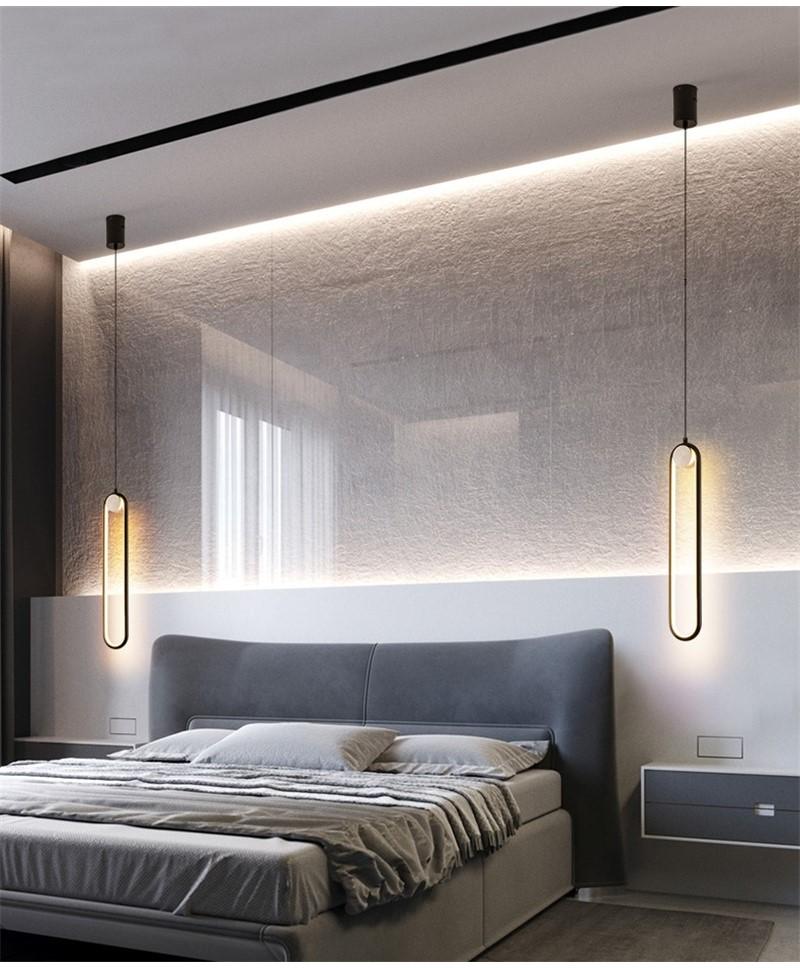Nordic Simple Led Hanging Lights Bedroom Modern Bedside Lamps Iron