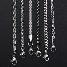 Davieslee, цепочка, ожерелье s для мужчин, нержавеющая сталь, серебро, Роло, пшеница, коробка, змейка, цепочки, мужское ожерелье, классика, 3 мм, 18-26 дюймов, LKNN1