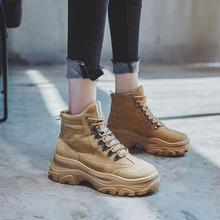 2019 Autumn Winter Suede Leather Ankle Boots for Women Wedge  Boots Increasing Platform Female Motorcycle Shoes Lace Up цена