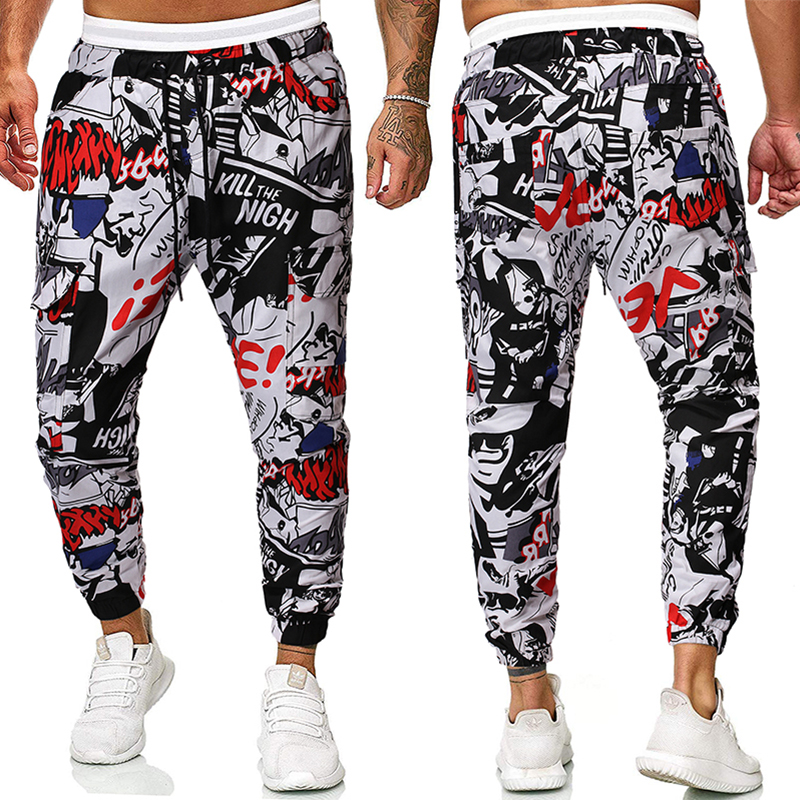 Man Vogue Slim Fit Ankle Strapped Pencil Pants Joggers Pants Man Casaul Cord Side Pockets Harem Pants Solid Sportswear