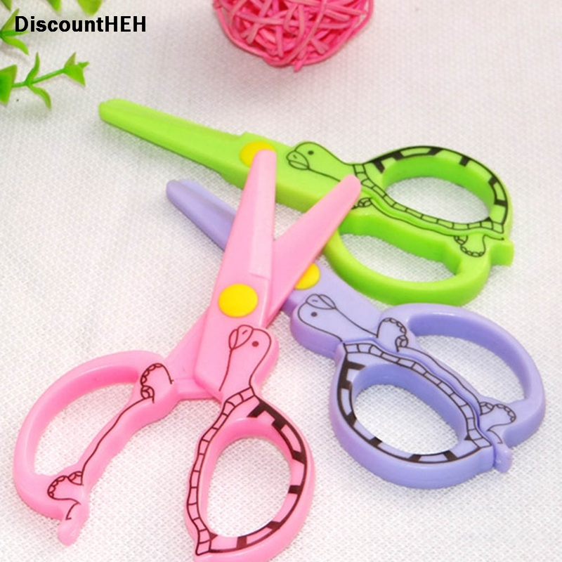 DIY Cute Kawaii Cartoon Plastic Safe Scissors For Paper Scrapbooking Kids Gift Korean Stationery Drop Shipping