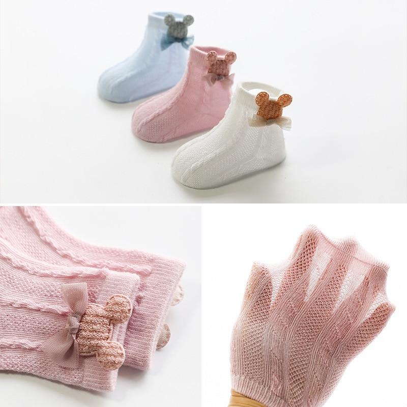 3 Pairs / lot Baby Socks Mesh Socks Thin Cotton Models Boys Girls Socks Boneless Suture Newborn Socks Accessories Children Socks 3
