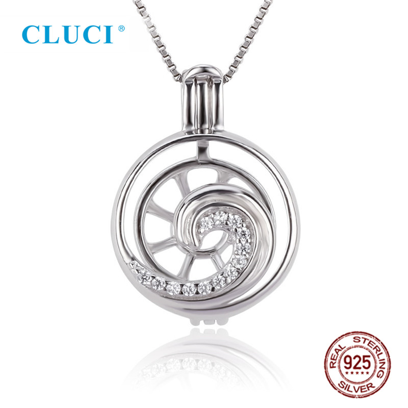 CLUCI 925 Sterling Silver Charms White Cubic Zircon Wave Shape Pearl Cage Locket Pendant For Necklace For Women