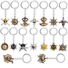 Anime uma peça chaveiro luffy zoro sanji nami pingente de metal chaveiro carro charme chaveiro titular chaveiro jóias presente