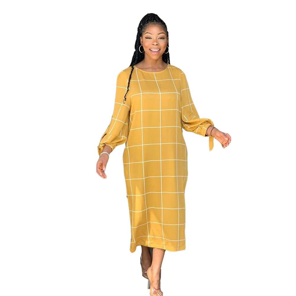 Echoine Women maxi dress Fashion plaid print casual long sleeve female bandage autumn winter party yellow plus size