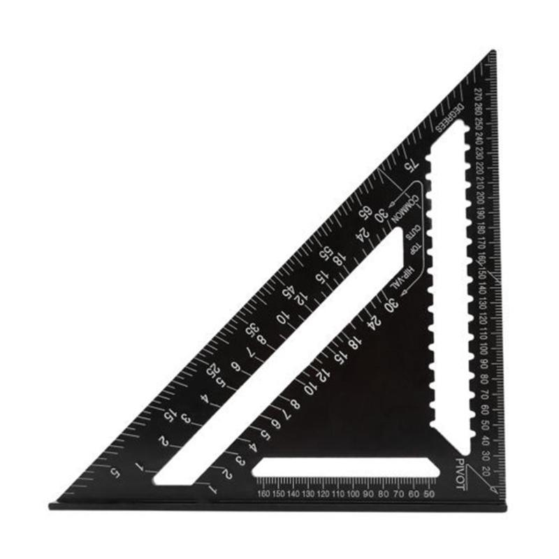 12inch Metric Aluminum Alloy Triangle Ruler for Woodworking Square Gauge Measuring Tool for Speed Square Layout Gauge