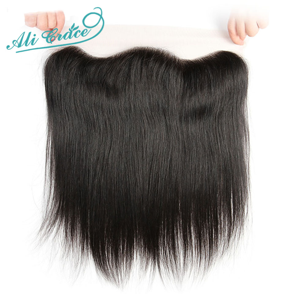 Ali Grace Brazilian Straight 13*4 Lace Frontal Medium Brown/ Transparent Lace Free/Middle Part Frontal 130% Destiny Remy Hair-in Closures from Hair Extensions & Wigs