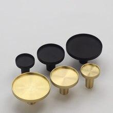 Armário de cozinha botões ouro/preto latão quarto armário alças gaveta redonda puxar cômoda puxador da porta da mobília