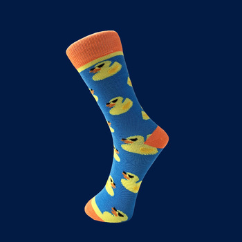 Colorful Men's Combed Cotton Crew Casual Dress Socks Funny Cartoon Animal Duck Pattern Crazy Skateboard Socks For Wedding Gifts 1