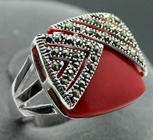 FREE 14*15mm Square Red Coral Marcasite 925 Sterling Silver Ring Size 7/8/9/10(China)