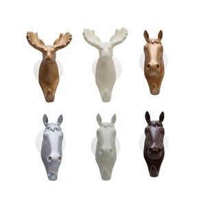 Vintage dekoratif duvar kanca asılı giysi için sevimli Unicorn at şekil plastik reçine duvar takı tuşları sahipleri askıları aracı