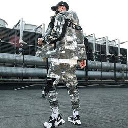 Мужской Камуфляжный тренировочный костюм в стиле милитари, толстая Свободная куртка с капюшоном и длинным рукавом, повседневные спортивны...
