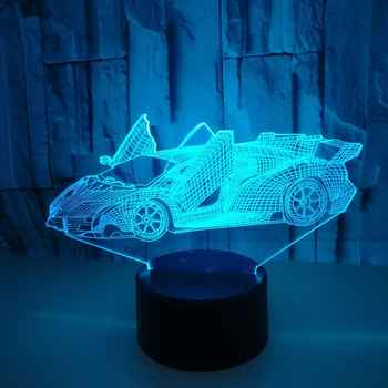3D Cool Super Car Acrylic Lamp Colorful Sports Car Night light Kids New birthday Gift Home Decor Baby Sleep Lamp - Category 🛒 All Category
