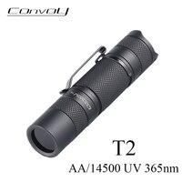 Convoy-Linterna UV T2 con luz Led UV 365nm, Linterna Flash con batería AA/14500, luz de detección de agente fluorescente ultravioleta