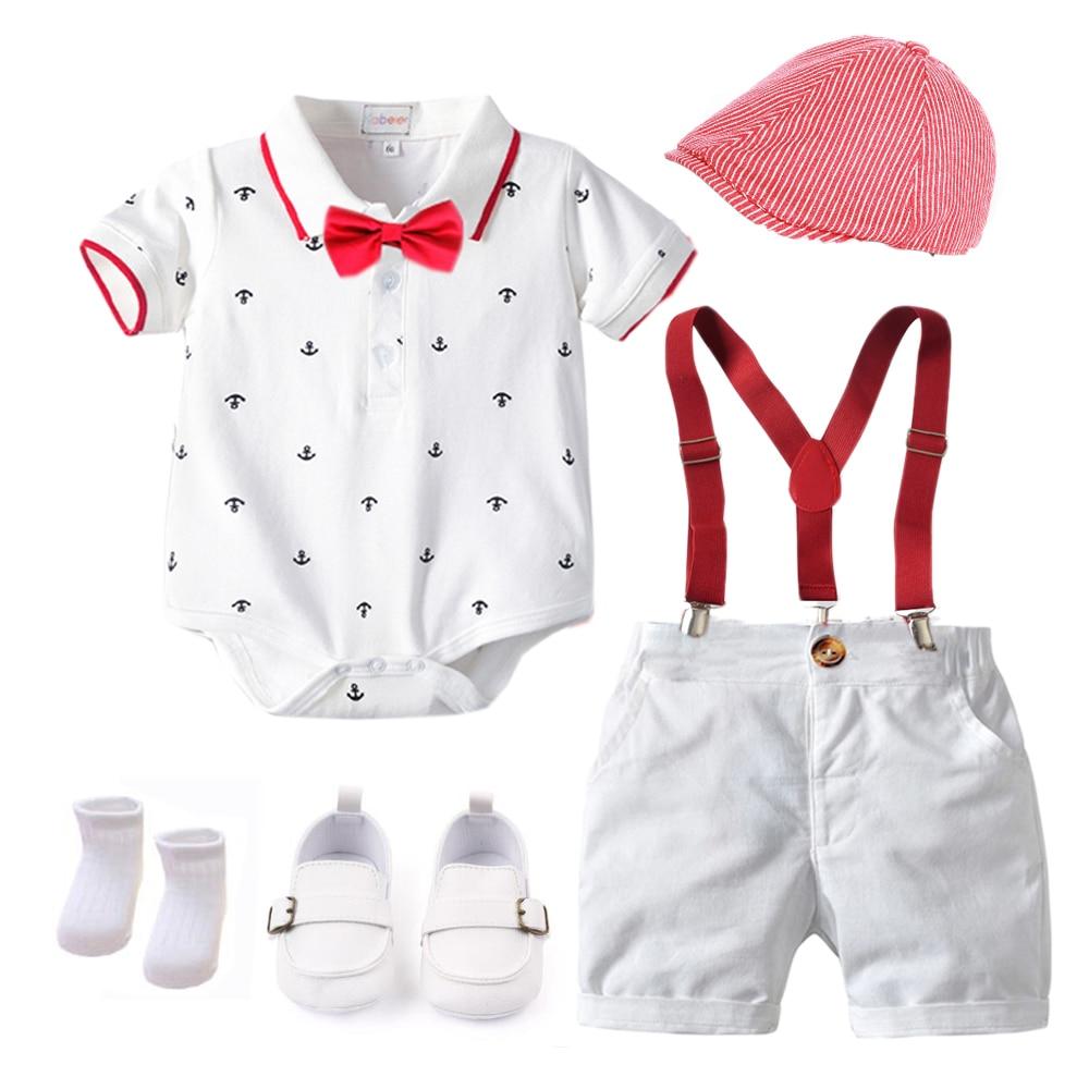 Bawełna chłopcy lato noworodka ubrania zestaw sukienka urodzinowa biały niemowlę strój kapelusz + pajacyki + spodenki na szelkach + buty + skarpetki 6 sztuk 0-18M