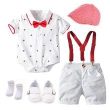 Algodão meninos verão roupas recém-nascidos definir vestido de aniversário branco infantil outfit hat + macacão + bib shorts + sapatos meias 6 pçs 0-18m