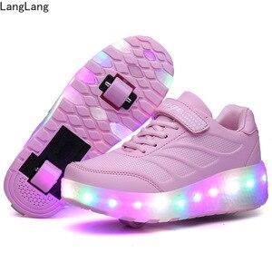 Кроссовки Heelys со светодиодными колесами для детей, для взрослых, с USB зарядкой, светящиеся роликовые туфли с подсветкой, с двойными колесами,...