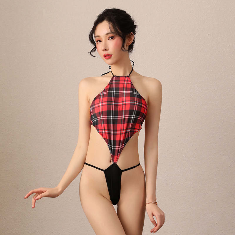 2020 Sexy Lingerie Sexy Maid Uniform Erotic Catsuit Plaid Swimsuit Japanese Lingerie Vest Thong One-piece Valentine's Day Gift