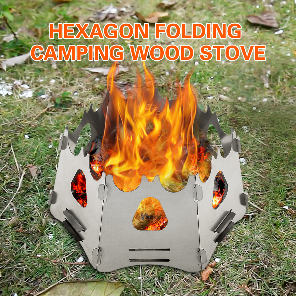 Camping Portable Folding Outdoor Camping Wood Stove Cooking Survival Burning