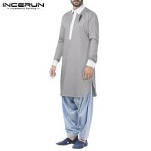 INCERUN Fashion Patchwork Muslim Kaftan Robes Mens Long Sleeve Lapel Jubba Thobe Loose Buttons Cozy Arabic Dubai Clothing S-5XL7