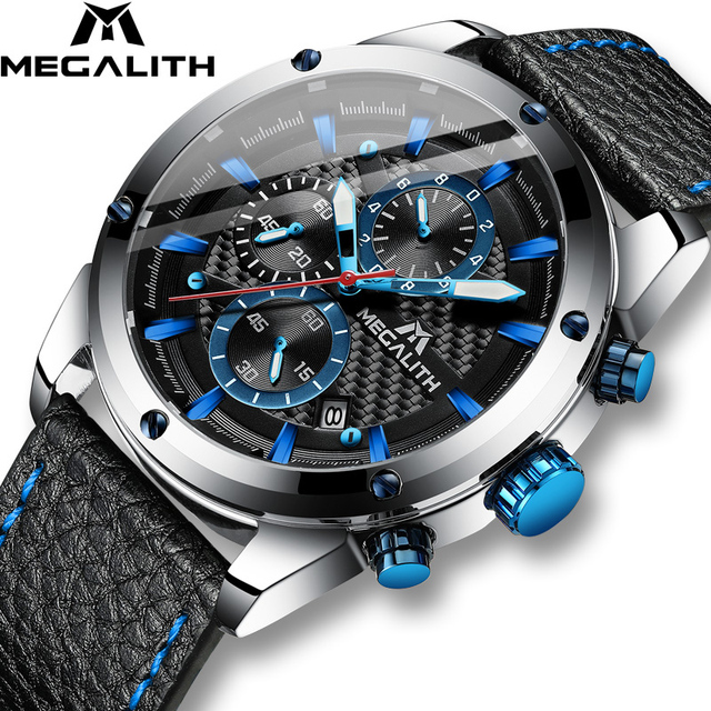 Relogio Masculino MEGALITH Men Watches Top Brand Luxury Watch For Men Waterproof Leather Srtap Quartz Clock 8004 Wholesale Price