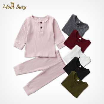 Baby Clothes Pajamas Sets Boys Girls Ribbed Set Children Cotton Sleepwear Bodysuit Home Suit  2PCS