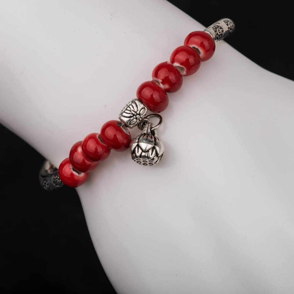 Bransoletka w stylu boho dla kobiet dziewczynki kolorowa kulka ceramiczna z koralików modne biżuteria Stretch Bohe bransoletki