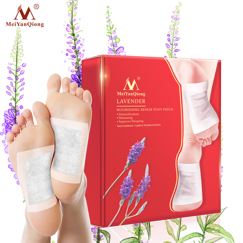 1Box Lavender Detox Foot Patches Pads Nourishing Repair Foot Patch Improve Sleep Quality Slimming Patch Loss Weight Care(China)