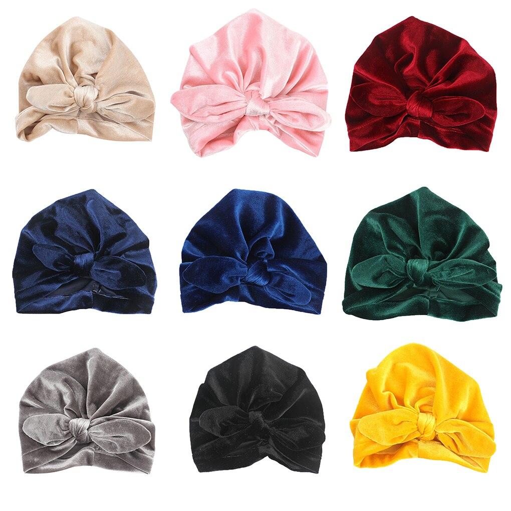 Headwear Knot Headwraps Warm Beanie Cap Baby Velvet Turban Children Headbands