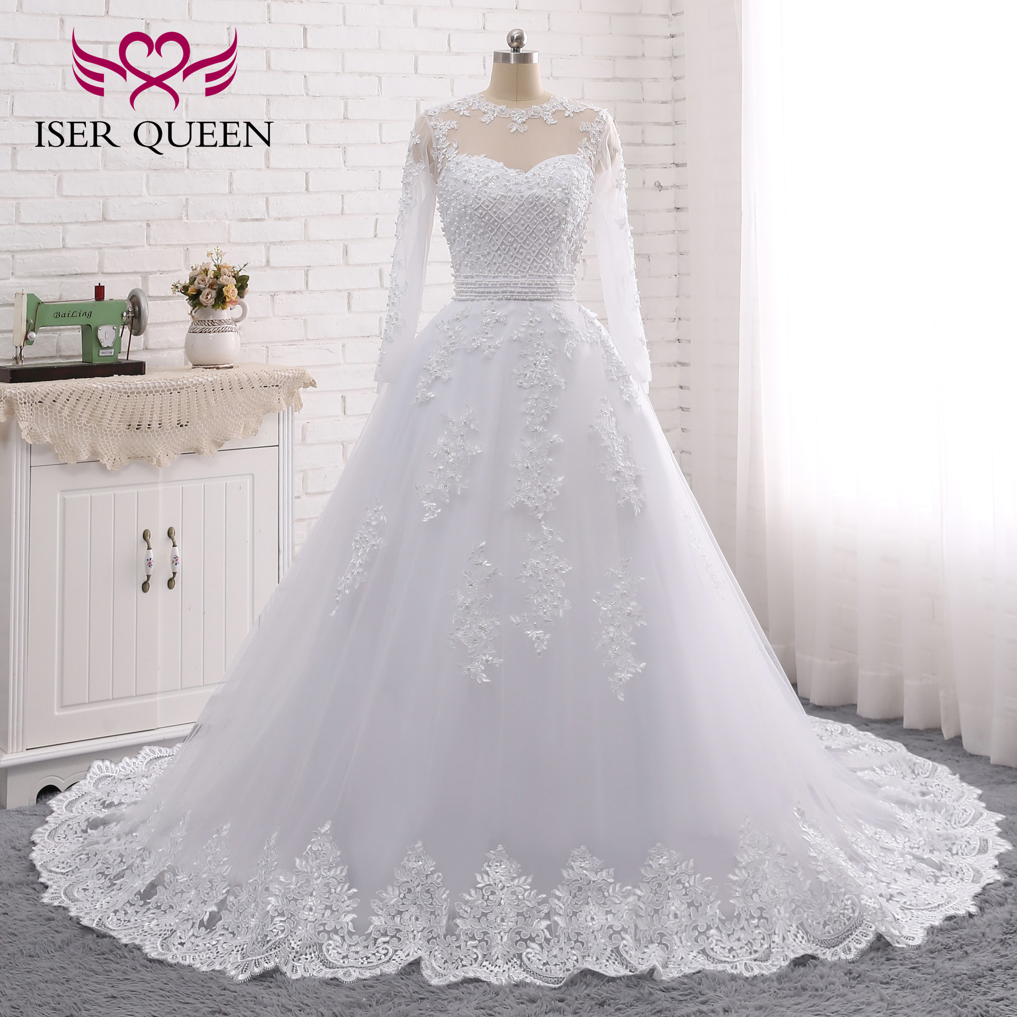 O-neck Tulle Long Sleeves Appliques Embroidered Lace on Net Sashes Pearls Detachable Wedding Dresses Bow vestido de novia W0278