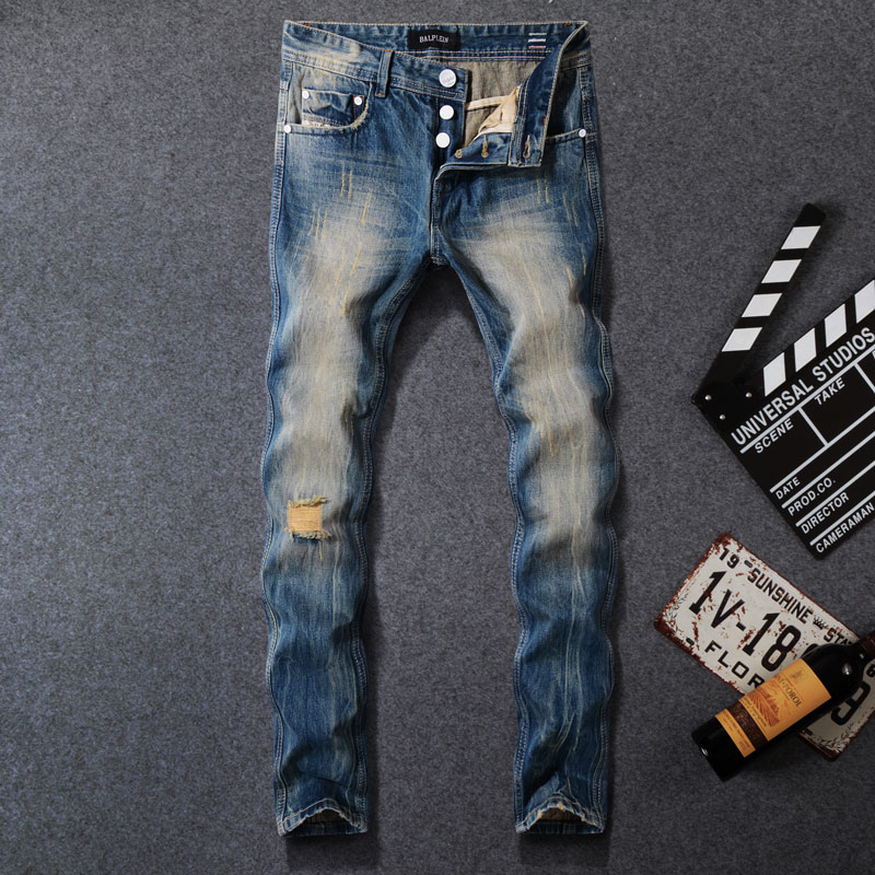 Japanese Style Fashion Men Jeans Retro Wash Ripped Jeans Embroidery Vintage Denim Pants Hombre Streetwear Hip Hop Slim Jeans Men