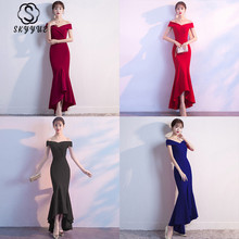 Skyyue Off The Shoulder Women Party Dresses Formal Gowns Soild Boat Neck Sleeveless Robe De Soiree Evening Dress 2019 C149-DS1