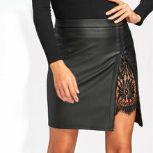 Hot 2019 Summer Women Leather OL Formal Lace Stretch High Waist Short Bodycon Mini Skirt