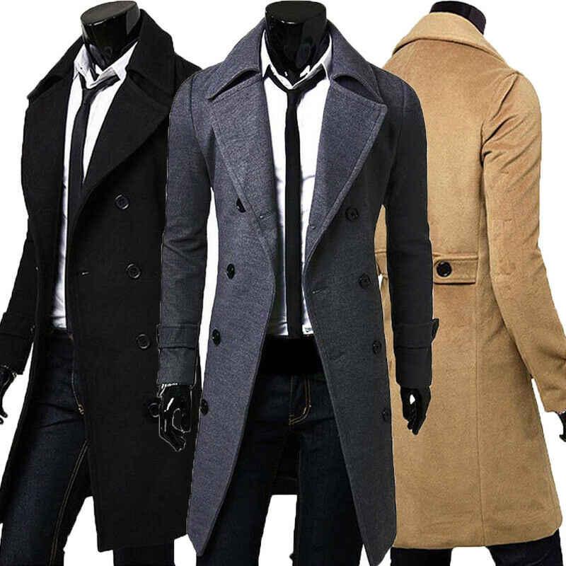 Мужская куртка, теплый зимний Тренч, длинная верхняя одежда, пальто на пуговицах, Мужская Повседневная ветровка, пальто, пальто, шерстяные смеси