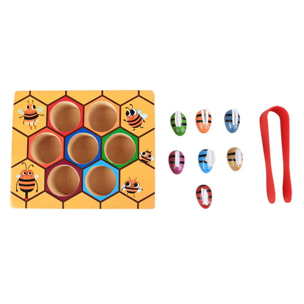 Wooden Children Education Clip Beehive Games Early Childhood Tool Education Intelligence Color Cognition Clip Small Bee Toys