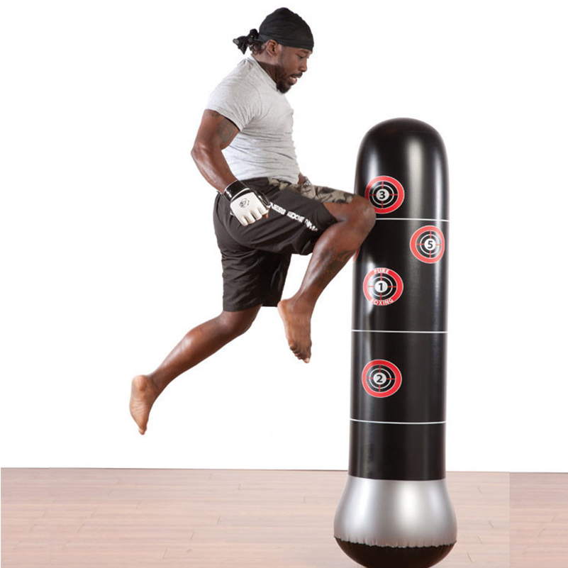 160cm Boxing Punching Bag Inflatable Free-Stand Tumbler Muay Thai Training Pressure Relief Bounce Back Sandbag with Air Pump 1