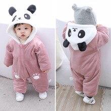Winter Panda Baby Hoodie Rompers Overalls Bodysuit Jumpsuit Newborn Girl Boy cotton Snowsuit Kids infant Snow Wear clothes