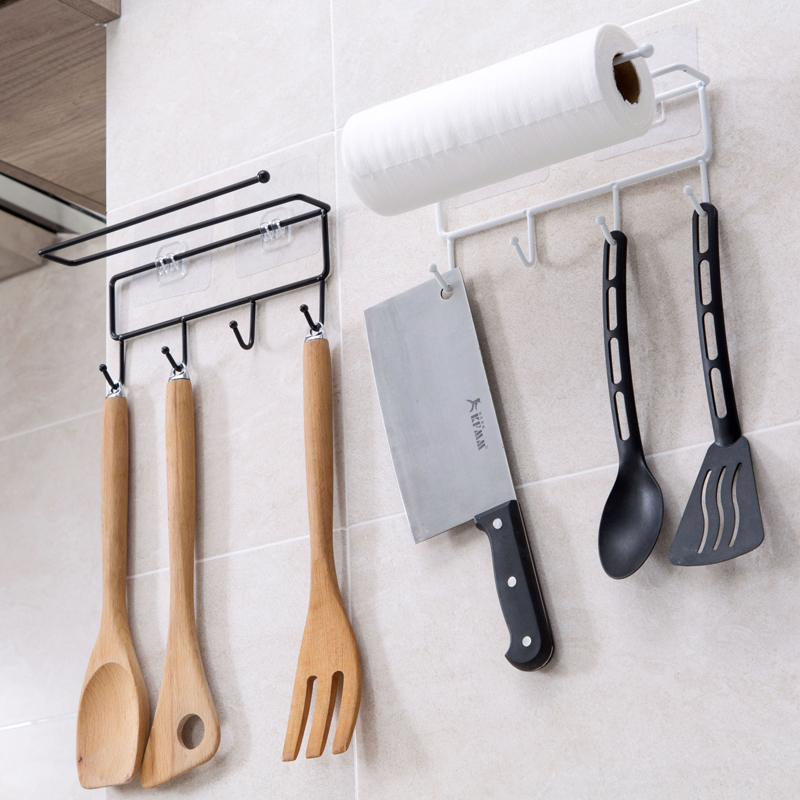 Kitchen Tools Organizer Iron Storage Rack Bathroom Towels Hanger Roll Paper Holder Cupboard Hanging Shelf Hooks On Wall