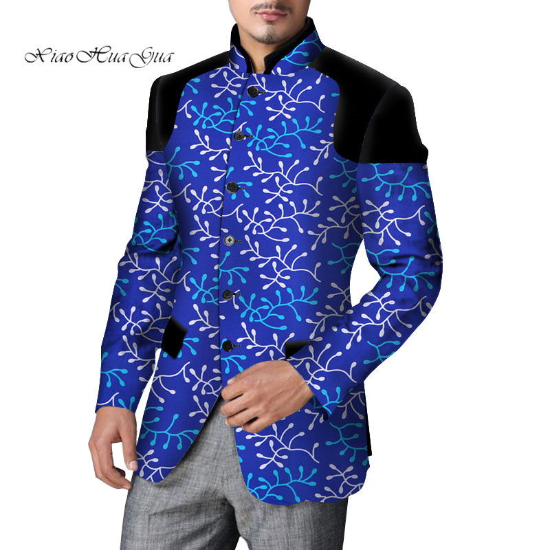 2020 New Africa Clothing Men Blazer Slim Fit Fancy Blazers Suit Jacket Tops Coat Flower Men Blazer Wedding Dress Suit WYN524